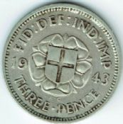 George VI, Silver (.500), Threepence 1943 (For Colonial Use), VF, M6422
